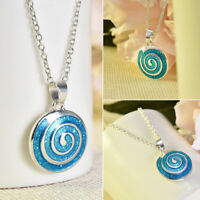 Fashion Woman 925 Silver Blue Fire Opal Charm Pendant Necklace Chain Jewellry
