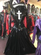 Vestido De Fiesta inadaptados Negro y Plata PVC Gótico monja + tocado Talla 20 Goth