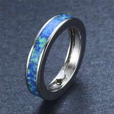 Blue Fire Opal Circle Band Engagement Rings Silver Plated Size 6-9 Women's/Men's