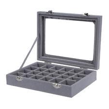 24 grid Display Box Jewelry Storage Glass Bracelet Watch pillow Buckle Grey X2G4