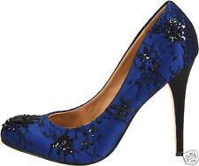 NIB Badgley Mischka SANOMA Embellished Lace mesh pumps heels shoes Royal BLUE  6
