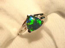 Opal Ring Ladies Sterling Silver 925 & CZ, 8x 8mm Trillion Triplet. item 0702292
