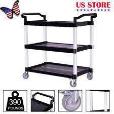Plastic Utility Service Cart 390 Lbs Capacity 3 Shelves Rolling 327x165 X 35