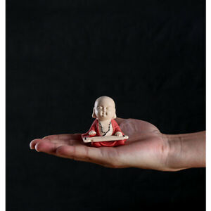 one mini tea pet lovely monk lyre-playing chess calligraphy painting statue new