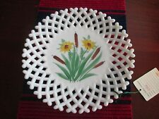 50's Westmoreland Milk Glass Lattice Open Edge Hand Painted Cattails Plate