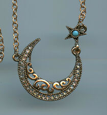 """32"""" Long Antique Rose Gold Plated, Turquoise & Crystal Moon & Star Necklace"""