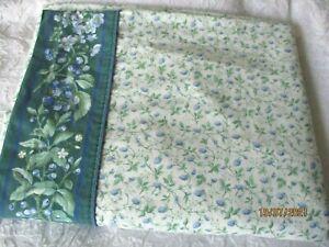 LAURA ASHLEY BRAMBLE GREEN BLUE FLORAL (1) King FLAT SHEET Vintage