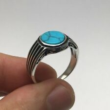 Turkish Ottoman Jewelry Simple Turquoise Oval 925K Sterling Silver Men's Ring