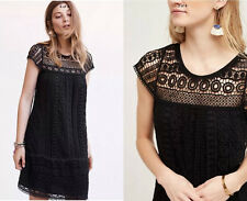 ANTHROPOLOGIE NWT Crochet Tunic Dress by Maeve Cotton Black Lace Sz XS $168