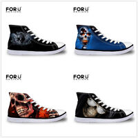 Fashion Skull Mens Black Blue High Top Canvas Shoes Casual Trainers Size 6-11.5