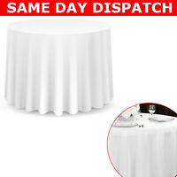 White Round Polyester Tablecloth Table Cover Cloth Wedding Party Plain Tableware