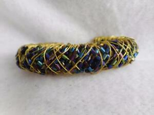 HANDMADE GOLD WIRE WRAPPED BLUE/ PURPLE IRIDESCENT CRYSTAL TUBE BEAD CUFF