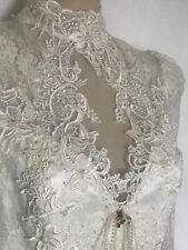 Victorian Elegance Ivory Lace Wedding Dress with Self Train, Size 12