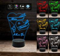 Idea regalo San Valentino LAMPADA LED Incisione CUORE e NOMI personalizzata unic
