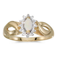 14k Yellow Gold Marquise Opal And Diamond Ring (Size 7)