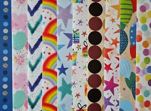 10 SHEETS OF THICK GLOSSY ASSORTED FEMALE / MALE BIRTHDAY WRAPPING PAPER