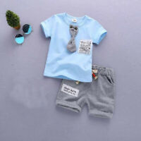 2pcs Toddler Kids baby boys summer clothes set Tee+short pants outfits gentleman