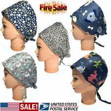 Womens Cotton Scrub Print Cap Medical Surgery Surgical Hat Hair Cover Unisex US