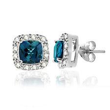 925 Silver 2.1ct London Blue Topaz & 1/8ct Diamond Stud Earrings