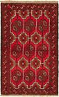 """Vintage Hand-Knotted Carpet 3'7"""" x 5'11"""" Traditional Oriental Wool Area Rug"""