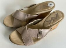 NEW! ANNE KLEIN SPORT AK LEAF GOLD BRONZE WEDGES SANDALS SHOES 7 37 SALE