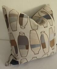 Iconic Eames Era Retro Vases Blues Greys Browns Jacquard Cushion Cover ~ 45cm