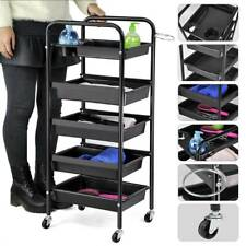 Beauty Spa Hairdresser Coloring Hair Salon Trolley Rolling Storage Cart 5 Tiers