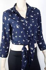 FREE FUSION Dark Blue Bird Shirt Top Blouse Size 8