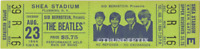 1  BEATLES VINTAGE UNUSED FULL CONCERT TICKET 1966 Shea Stadium NY laminated grn