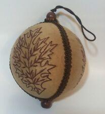 "Large Ball Christmas Ornament 5"" Brown Elegant Embroidered Leaf Leaves Wood Bead"