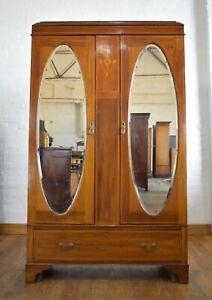 Antique vintage inlaid double door wardrobe