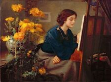 Oil painting James N. Lee At the Easel Beautiful young girl artist Hand painted