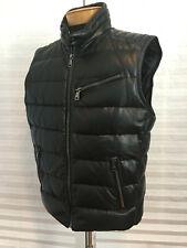 $2995 NWT Auth RALPH LAUREN Purple Label Blk Leather Down Puffer Vest Jacket XL