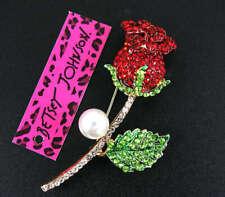New Fashion Rhinestone red  Flower Rose Plant Brooch Pin Betsey Johnson Gifts