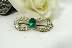 Vintage Art Deco Sparkling Faceted Rhinestone Bow Brooch