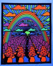 """Mushroom rainbow Blacklight UV reactive tapestry // 23""""x28"""" // fabric poster //"""