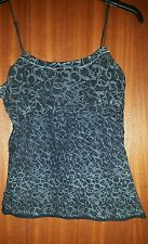 Stylish Firetrap grey blue print black fitted camisole vest top, small