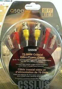 50FT BNC VIDEO CABLE Female-Male Connections AND power NEW Open Box