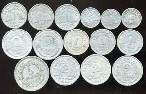 FRANCE WW2 (Lot) of 15 currencies used in France during the word 2   ( aus )