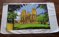 Vintage cotton tea towel Wells Cathedral England lovely graphics