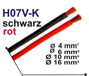 Stromkabel Batteriekabel H07V-K   Ø 4mm² bis Ø 16mm²  rot  schwarz