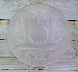 Vintage Round Divided Frosted Glass Serving Tray Relish Platter Wheat & Flowers