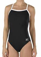 Speedo Women Swimwear Black 10 /36 Flyback Endurance One-Piece Swimsuit $69- 508