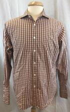 TM Lewin Lewin 100 Men's Long Sleeve Brown Gingham Check  Shirt Sz 16/33 H3