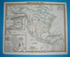 1849 ORIGINAL MAP UNITED STATES CANADA MEXICO AMERICA MOUNTAINS Texas California