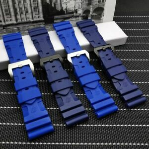 BLUE 24 26 Silicone Rubber Watch Band For Panerai Strap Watchband Diver SOFT NEW