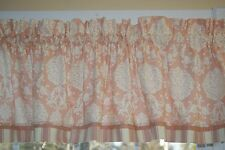 Peach Pink White Waverly Inspirations Floral Toile Valance 17 x 44 Dr Wt Curtain