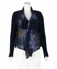 HEART HAAT BY ISSEY MIYAKE Blue Abstract Cardigan, Size L