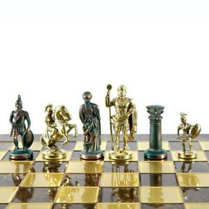 Manopoulos Greek Roman Army Large Chess Set - Brass Green Pawns - Brown Board