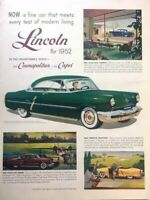 1952 Lincoln Cosmopolitan Vintage Advertisement Print Art Car Ad Poster LG79